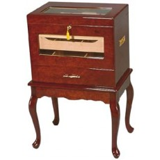MAGNIFICENT STYLE Geneve Burlwood Humidor 22W x 15D x 33.5H - Up to 500 Cigars