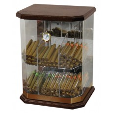 Model #1 W - 6 Bin Acrylic Plastic Humidor - WOOD TOP & BOTTOM
