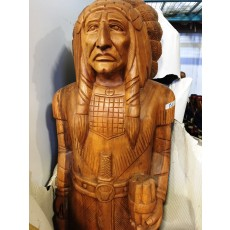 "CHIEF SIX GUN Indian with Cigars Wooden Indian 70"" Natural Finish"