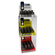 Jet Line POCKET TORCH 3 TIER DISPLAY - Triple & Double& Single Torch - 6 TRAYS of 20 Lighters (LOWER PRICES + FREE Display)