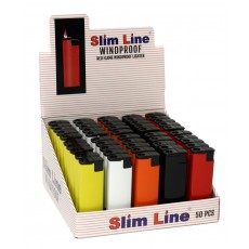 """Jet Line SLIM LINE - """"WINDPROOF"""" """"REFILLABLE"""" METAL BODY PIEZO ELECTRONIC - TRAYS of 50 -  Model #46-046 SOLID COLORS"""