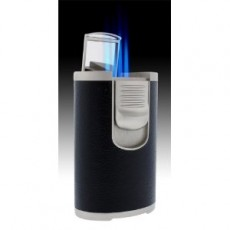 Jet Line QUAD (4 flame) Table Torch - BLACK Leather - Boxed - Style  #DT101B Model #47-100B (This Style can be IMPRINTED with your Logo)