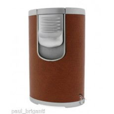 Jet Line QUAD (4 flame) Table Torch - LIGHT BROWN Leather - Boxed - Style  #DT101B Model #47-100LB (This Style can be IMPRINTED with your Logo)
